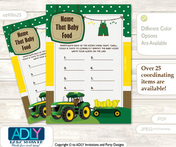 John Deer Green Tractor Guess Baby Food Game or Name That Baby Food Game for a Baby Shower, green Yellow Farm