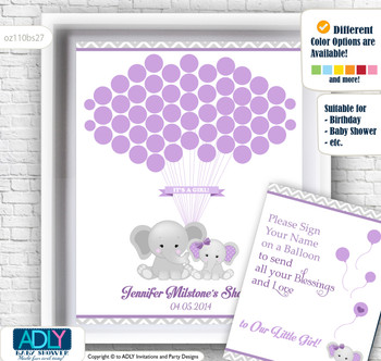 Girl Elephant Guest Book Alternative for a Baby Shower, Creative Nursery Wall Art Gift, Purple Grey, Chevron