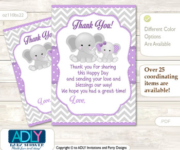 Girl  Elephant Thank you Cards for a Baby Girl Shower or Birthday DIY Purple Grey, Chevron