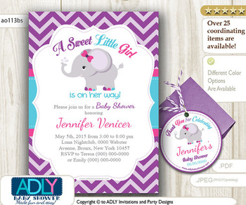 Purple Turquoise Pink Elephant Invitation Shower, Printable DIY for girl, chevron, gray,teal,elephant thank you tag,free favor tag