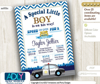 Police Baby Shower Invitation, Chevron, Dark Blue, Future Policeman is on the way, Little Policeman shower, cop, officer shower