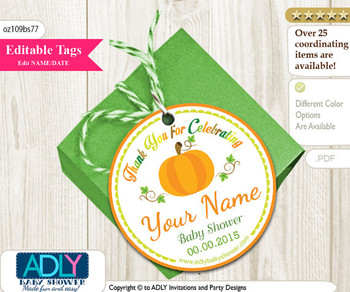 Editable Lime Green Orange Pumpkin Thank You Tag 4 favors, fall shower,personalizable tag, fillable with name, DIY, gender neutral