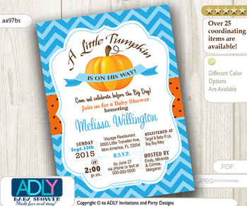 Pumpkin Boy Shower Invitation, orange, baby blue chevron, Little Pumpkin on his way, printable invitation