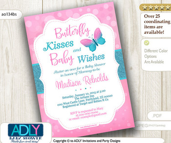 Turquoise Pink Butterfly Kisses and Baby WIshes Invitation for Baby Shower with bokeh, glitter, butterfly invitation, teal
