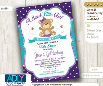 Purple Turquoise Teddy Bear Girl Baby Shower Invitation card, A sweet Little Girl is on her way, purple, polka,girl bear