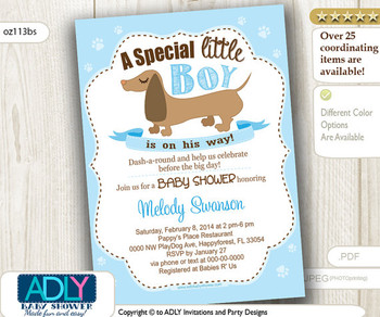 Boy Sausage Dog Baby Shower Invitation, Printable Dachshund Baby Shower Card for a baby shower.Baby Blue, diy,brown dog