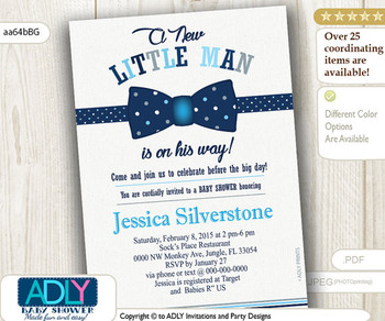 Navy Blue Grey Bow Tie Little Man Baby Shower Invitation, dark blue bow tie polka dots, gray,baby blue lil' Man shower