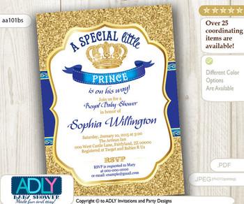 Royal Blue Gold Glitter Prince/ King Invitation for baby shower, dark blue, gold royal vintage crown invitation, prince on the way