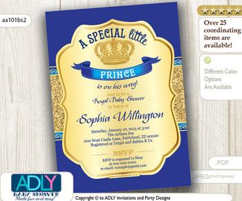 Royal Blue Gold Glitter Prince/ King Invitation for baby shower, dark blue, gold royal vintage crown invitation, prince on the way-