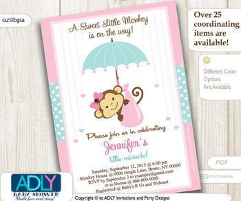 Aqua Pink Monkey Baby Shower Invitation, A Little Monkey is on her way, mint pink polka dots, monkey with umbrella,digital invitation