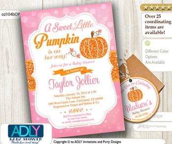 Little Pumpkin Orange Pink Bokeh Fall invitation for Baby Shower, Pumpkin girl shower, autumn baby shower, pumpkin thank you tag