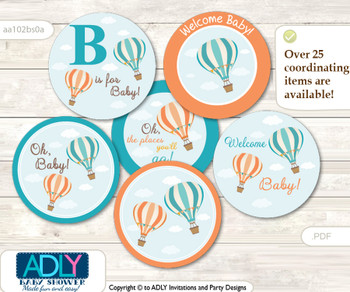 Baby Shower Neutral Air Balloon Cupcake Toppers Printable File for Little Neutral and Mommy-to-be, favor tags, circle toppers, Up and Away, Coral Teal