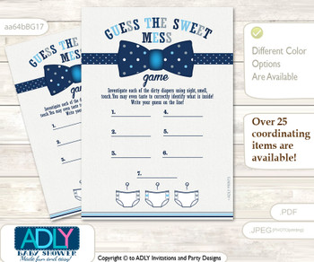 Boy Bowtie Dirty Diaper Game or Guess Sweet Mess Game for a Baby Shower Blue Grey, Polka