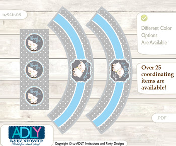 Printable Boy Lamb Cupcake, Muffins Wrappers plus Thank You tags for Baby Shower Blue Grey, Polka