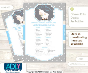 Boy Lamb What is in Mommy's Purse, Baby Shower Purse Game Printable Card , Blue Grey,  Polka