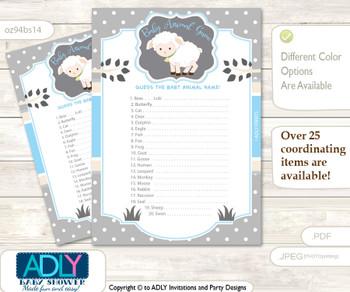 Printable Boy Lamb Baby Animal Game, Guess Names of Baby Animals Printable for Baby Lamb Shower, Blue Grey, Polka