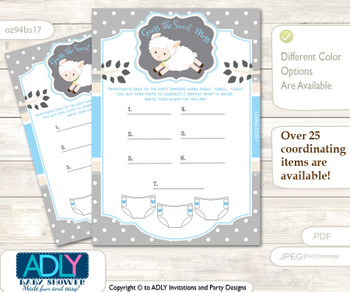 Boy Lamb Dirty Diaper Game or Guess Sweet Mess Game for a Baby Shower Blue Grey, Polka