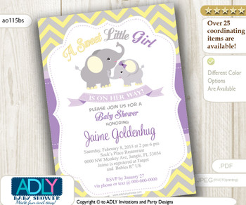 Grey Girl Elephant Invitation for Baby Shower with Mommy. Yellow, grey chevron, lavender-purple invitation. A Sweet Little Girl- ao115bs