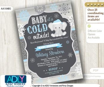 Dark Grey, Glitter. Blue Elephant Winter Snowflake Invitation for Baby Shower