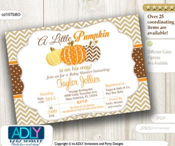 Fall Orange Pumpkin Invitation for Baby Shower