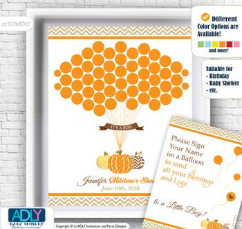 Boy Pumpkin Guest Book Alternative for a Baby Shower, Creative Nursery Wall Art Gift, Orange Brown, Chevron