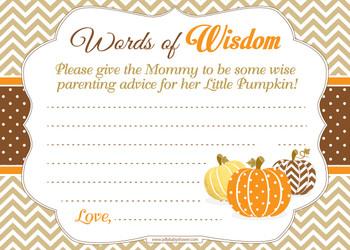 Orange Brown Boy Pumpkin Words of Wisdom or an Advice Printable Card for Baby Shower, Chevron