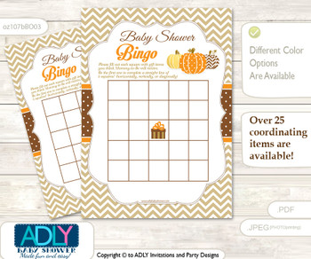 Printable Orange Brown Pumpkin Bingo Game Printable Card for Baby Boy Shower DIY grey, Orange Brown, Chevron