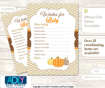 Boy Pumpkin Wishes for a Baby, Well Wishes for a Little Pumpkin Printable Card, Chevron, Orange Brown