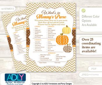 Boy Pumpkin What is in Mommy's Purse, Baby Shower Purse Game Printable Card , Orange Brown,  Chevron