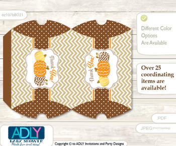 Boy Pumpkin Pillow Box for Candy, Little Treats or Small Gift of any Baby Shower or Birthday, Orange Brown , Chevron