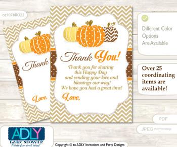 Boy  Pumpkin Thank you Cards for a Baby Boy Shower or Birthday DIY Orange Brown, Chevron