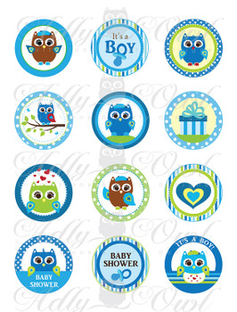 Blue Owl Baby Shower Cupcake Toppers or Favor Tags Printables DIY, it's a boy owl green brown tags - ONLY digital file - you print