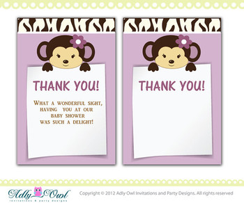 Cocalo Jacana Baby Shower Thank You note card, thank you tag DIY  - ONLY digital file - you print