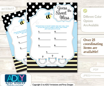 Boy Bee Dirty Diaper Game or Guess Sweet Mess Game for a Baby Shower Black Blue, Honey