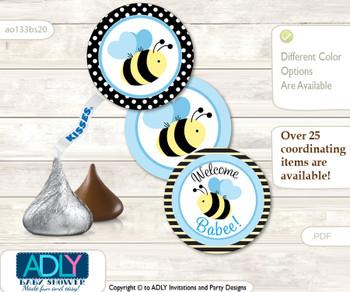 Printable  Boy Bee Candy Kisses for Baby Boy Shower DIY Black Blue , Honey