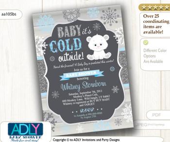 Polar Bear Baby Shower Digital Invitation. Printable Card.