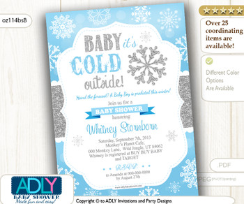 Snowflake Invitation for Boy Winter Shower. Baby Blue and Silver Glitter, grey.