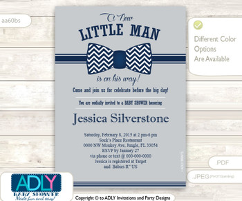 Grey Dark Blue Bowtie Little Man Baby Shower Invitation, navy blue, blue, gray baby shower, chevron bowtie