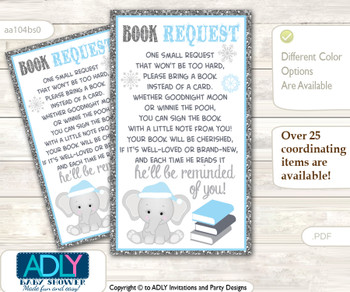 Request a Book Instead of a Card for Snowflake Elephant Baby Shower or Birthday, Printable Book DIY Tickets, Winter,Grey Blue