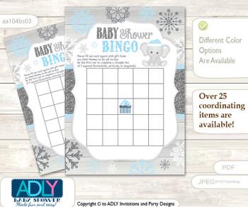 Printable Grey Blue Elephant Bingo Game Printable Card for Baby Snowflake Shower DIY grey, Grey Blue, Winter