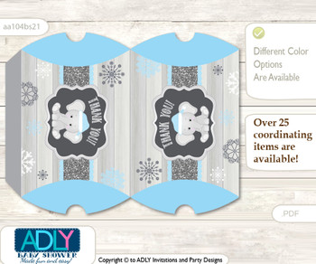 Snowflake Elephant Pillow Box for Candy, Little Treats or Small Gift of any Baby Shower or Birthday, Grey Blue , Winter
