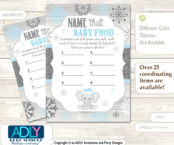 Snowflake Elephant Guess Baby Food Game or Name That Baby Food Game for a Baby Shower, Grey Blue Winter