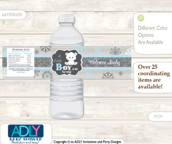 Boy Polar Bear Water Bottle Wrappers, Labels for a Polar Bear  Baby Shower, grey blue, Snowflake