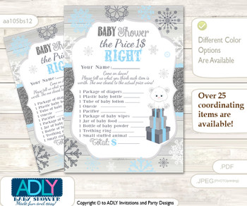 Printable Boy Polar Bear Price is Right Game Card for Baby Polar Bear Shower, grey blue, Snowflake