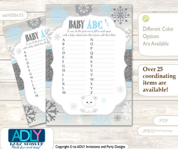 Boy Polar Bear Baby ABC's Game, guess Animals Printable Card for Baby Polar Bear Shower DIY –Snowflake