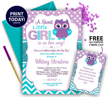 Purple Teal Girl Owl Baby Shower Invitation