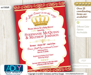 Red Gold Prince/ King Baby Shower Invitation