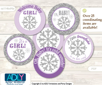 Baby Shower Girl Snowflake Cupcake Toppers Printable File for Little Girl and Mommy-to-be, favor tags, circle toppers, Winter, Purple Grey