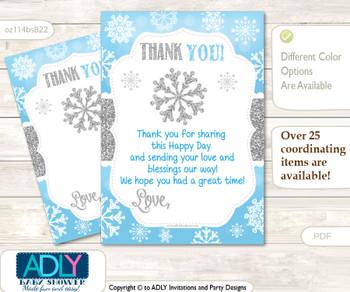 Boy  Snowflake Thank you Cards for a Baby Boy Shower or Birthday DIY Blue Grey, Silver