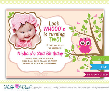 Girl Owl Birthday Invitation with Photo, 1st, 2nd birthday Printable invitation with biscuit pink owl  - ONLY digital file - ao18hb